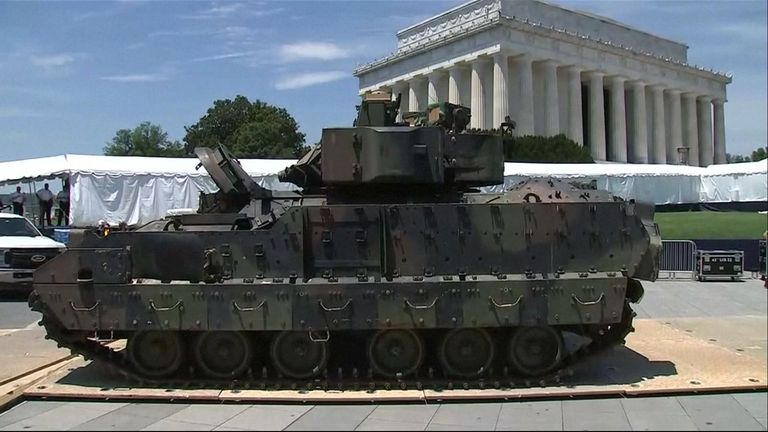 The US military arrived in Washington ahead of the country's Independence Day celebrations.