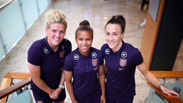 (L-R) Millie Bright, Nikita Parris and Lucy Bronze of England