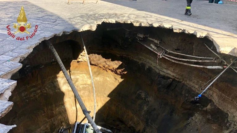 The sinkhole opened up on Monday morning. Pic: Vigili del Fuoco