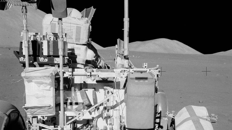 Duct tape was used to repair the Apollo 17 rover's right rear wheel. Pic: NASA