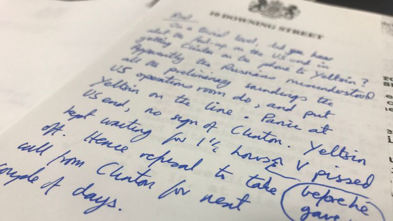 A handwritten note on Downing Street paper that reveals that Boris Yeltsin was kept on hold for 90 minutes to Bill Clinton in 1994