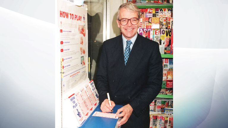 14/11/1994 Prime Minister John Major selecting his numbers for the National Lottery at a newsagents in Victoria, London