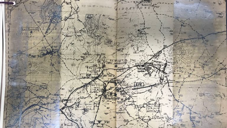 A map showing the location of a secret underground bunker in Wiltshire, which was to be the emergency second home of the UK Government in the event of London coming under siege in the 1960s