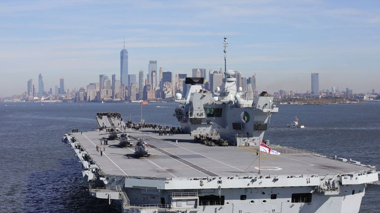Britain's new aircraft carrier HMS Queen Elizabeth arrives in New York on October 19, 2018 in New York City