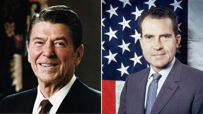 Ronald Reagan, left, made the comments to Richard Nixon, right, in 1971