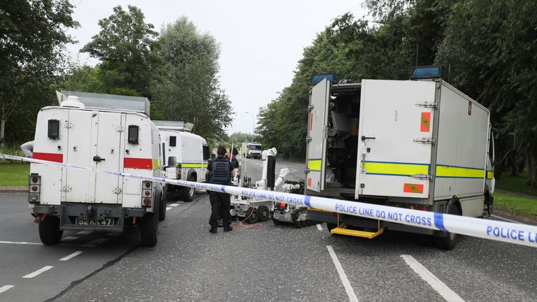 the scene in Tullygally Road, Craigavon, Co Armagh after an explosive device used by dissident republicans in a failed bid to kill police officers was discovered. PRESS ASSOCIATION Photo. Picture date: Saturday July 27, 2019. See PA story ULSTER Bomb. Photo credit should read: Brian Lawless/PA Wire