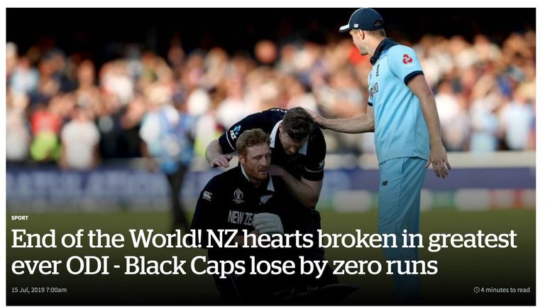 The New Zealand Herald say the NZ team lost by 0 runs