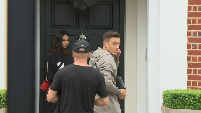 Mesut Ozil speaking to Sky News outside his house