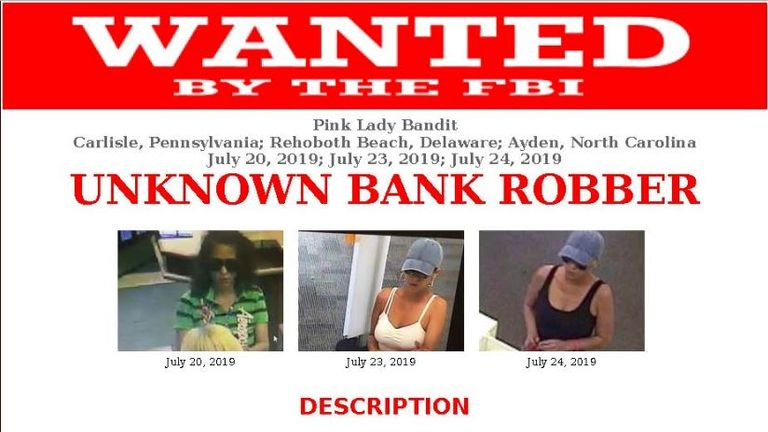 The FBI have issued a wanted poster for the robber. Pic: FBI Charlotte