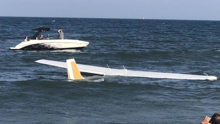Small plane crash-lands on Maryland beach.
