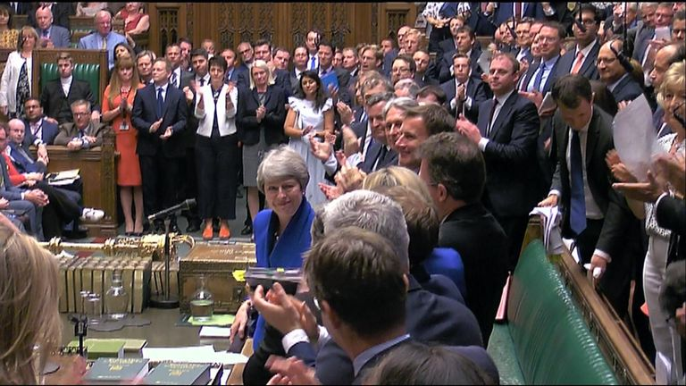 A tearful Theresa May leaves her final PMQs as prime minister to a standing ovation