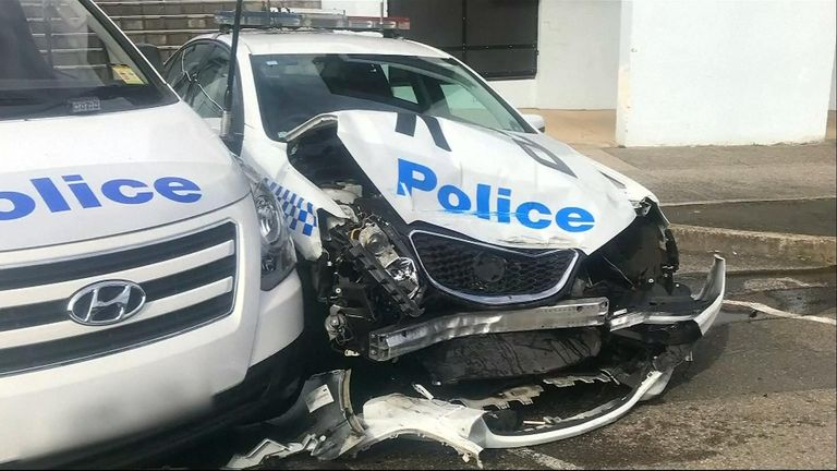 No one was injured, but a police car suffered significant damage