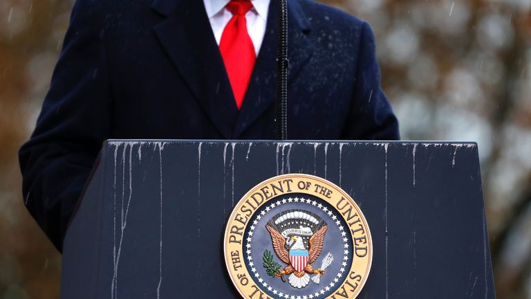 A lectern with presidential seal is pictured as U.S. President Donald Trump speaks during the commemoration ceremony for Armistice Day, 100 years after the end of World War One, at the Suresnes American Cemetery and Memorial in Paris, France, November 11, 2018