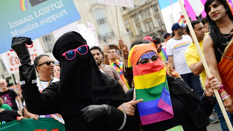 LONDON, ENGLAND - JULY 06: A parade goer wears a rainbow Niqab during Pride in London 2019 on July 06, 2019 in London, England. (Photo by Chris J Ratcliffe/Getty Images for Pride in London)