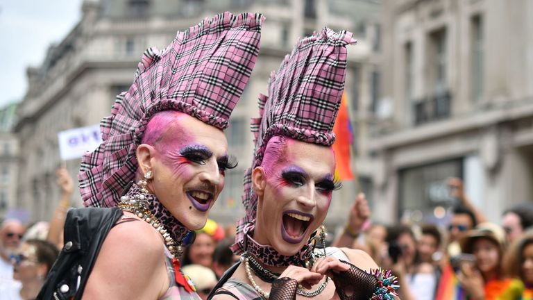 LONDON, ENGLAND - JULY 06: Parade goers during Pride in London 2019 on July 06, 2019 in London, England. (Photo by Tristan Fewings/Getty Images for Pride in London)