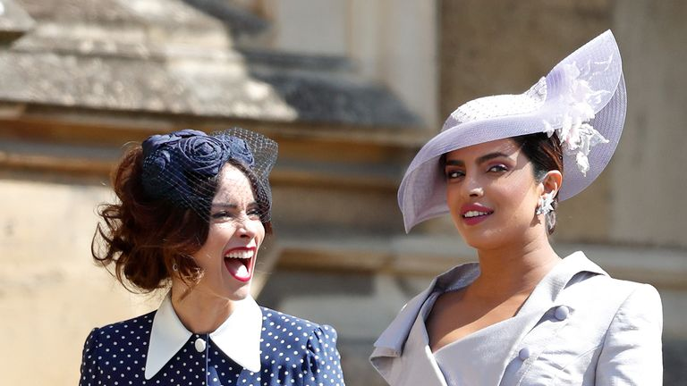 Abigail Spencer and Priyanka Chopra (R) at harry and Meghan's wedding