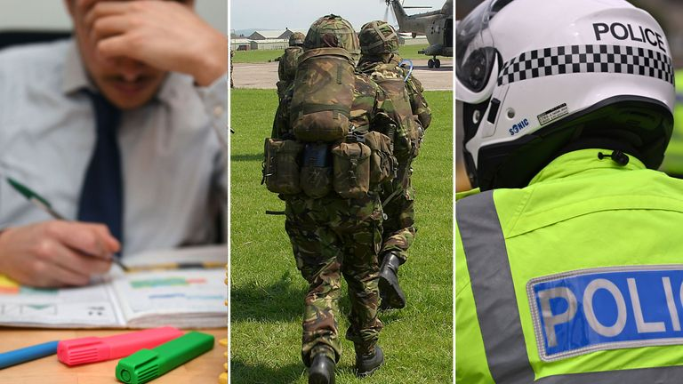 Police officers, teachers and soldiers are among those expected to receive a pay rise