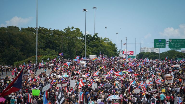 Protesters blocked one of the capital's roads