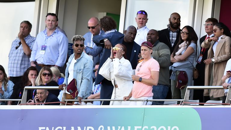 Barbadian singer/actress Rihanna spectates during the 2019 Cricket World Cup group stage match between Sri Lanka and West Indies at the Riverside Ground, in Chester-le-Street, northeast England, on July 1, 2019
