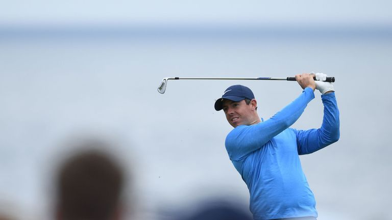Rory McIlroy tees off during a practice session ahead of the Open