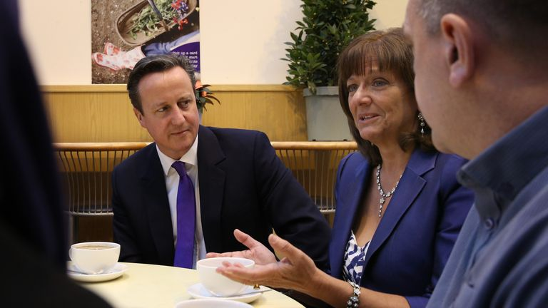 Prime Minister David Cameron and pensions campaigner Ros Altmann