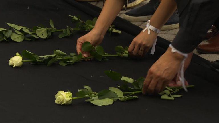 Roses left as a memorial