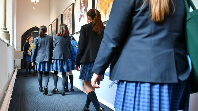 Students walk along a corridor at Royal High School Bath