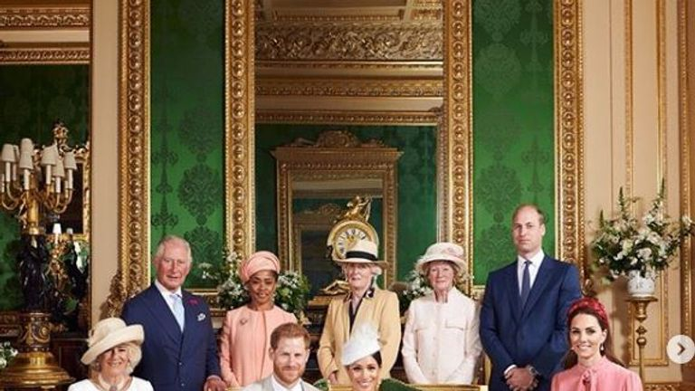 The Royal family with baby Archie following his christening. Pic: Instagram