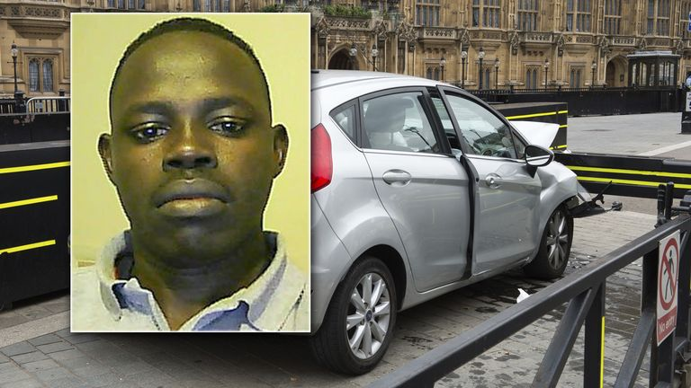 Salih Khater's silver Ford Fiesta crashed into a security barrier outside the Houses of Parliament