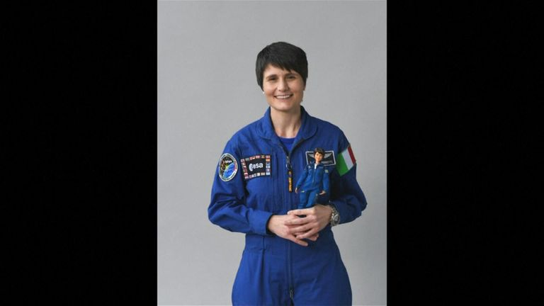 Astronaut Samantha Cristoforetti with the Barbie doll modeled after her (COURTESY BARBIE / ESA)