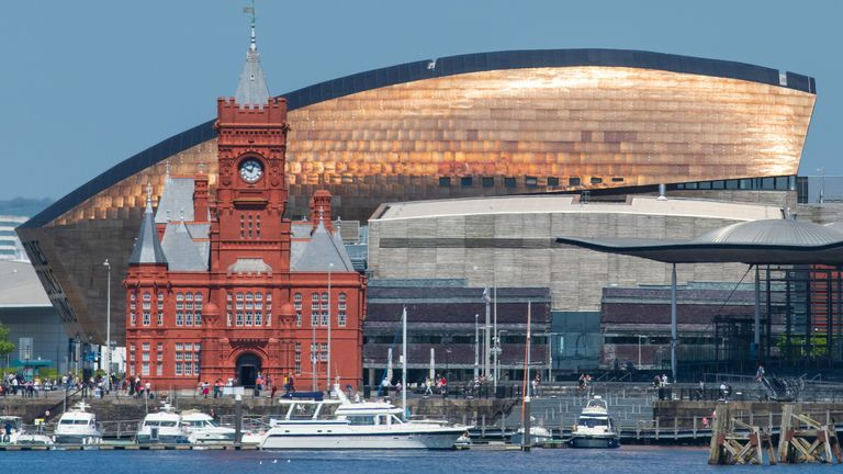 "CARDIFF, UNITED KINGDOM - MAY 05: ""nA general view of the Pierhead Building, Wales Millennium Centre (WMC) and the Senedd, home of the Welsh National Assembly at Cardiff Bay on May 5, 2018 in Cardiff, United Kingdom. (Photo by Matthew Horwood/Getty Images)"