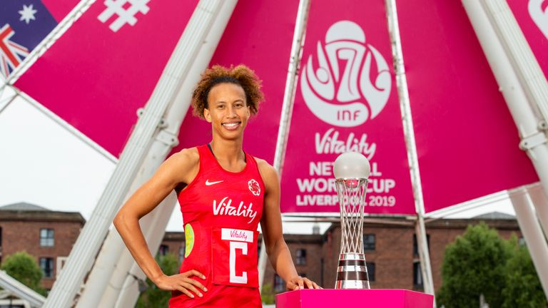 LIVERPOOL, ENGLAND - JULY 09: Serena Guthrie of England poses for a photo with the Netball World Cup trophy during the Vitality Netball World Cup Captains' Photocall at Albert Docks on July 09, 2019 in Liverpool, England. (Photo by Jan Kruger/Getty Images for Vitality)