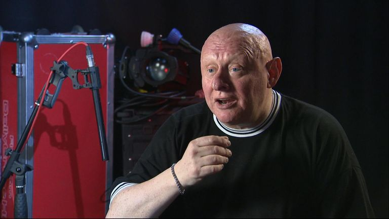 Shaun Ryder, from the Happy Mondays, at Sky News' Millbank Studios