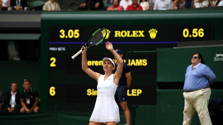 Simona Halep wins her first Wimbledon title, beating Serena Williams in less than an hour