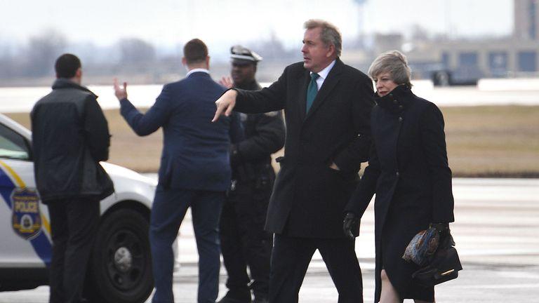 Sir Kim Darroch with Theresa May in 2017