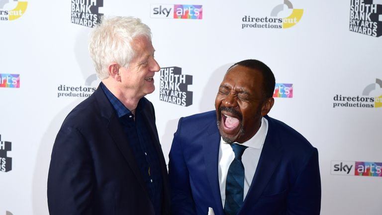 Sir Lenny Henry with the Outstanding Achievement Award  presented by Richard Curtis, at the South Bank Sky Arts Awards at the Savoy Hotel in London. PRESS ASSOCIATION Photo. Picture date: Sunday July 7, 2019. See PA story SHOWBIZ Arts. Photo credit should read: Ian West/PA Wire