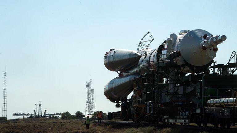The rocket, in Baikonur, Kazakhstan