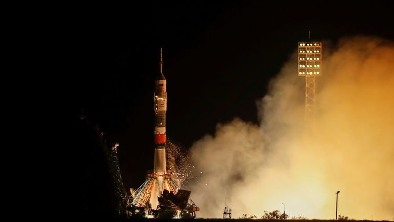 The Soyuz MS-13 spacecraft carrying the crew formed of Andrew Morgan of NASA, Alexander Skvortsov of the Russian space agency Roscosmos and Luca Parmitano of European Space Agency blasts off to the International Space Station (ISS) from the launchpad at the Baikonur Cosmodrome, Kazakhstan July 20, 2019. REUTERS/Maxim Shemetov