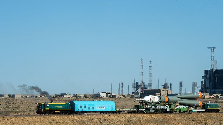 The Soyuz rocket on its train-track journey across the base