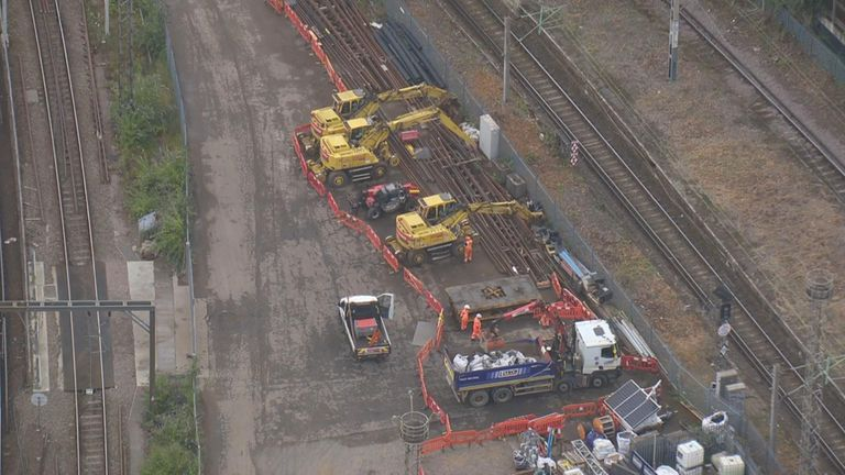 Repairs are being made near St Pancras