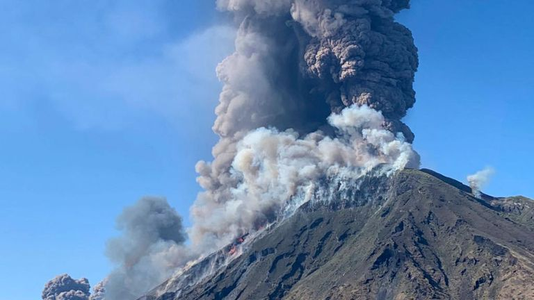 A hiker was killed by falling stones as he walked on the side of the volcano
