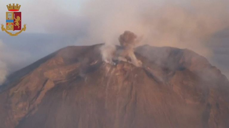 Smoke was still rising from a volcano on the Sicilian island of Stromboli, a day after eruptions killed one person and sent about 30 tourists jumping into the sea for safety.
