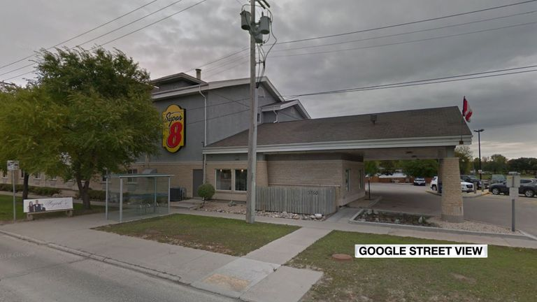The gas leak happened at the Super 8 hotel in Winnipeg. Pic: Google Maps