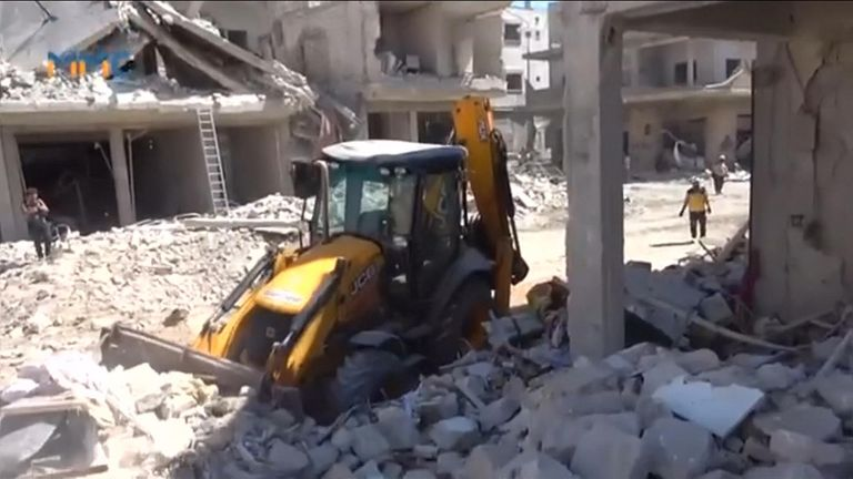 The attacks caused widespread destruction and turned buildings into rubble