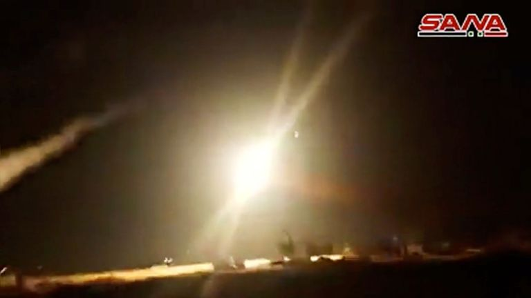 Syria footage showed what appeared to be a surface to air missile a hitting target after they were launched from Homs