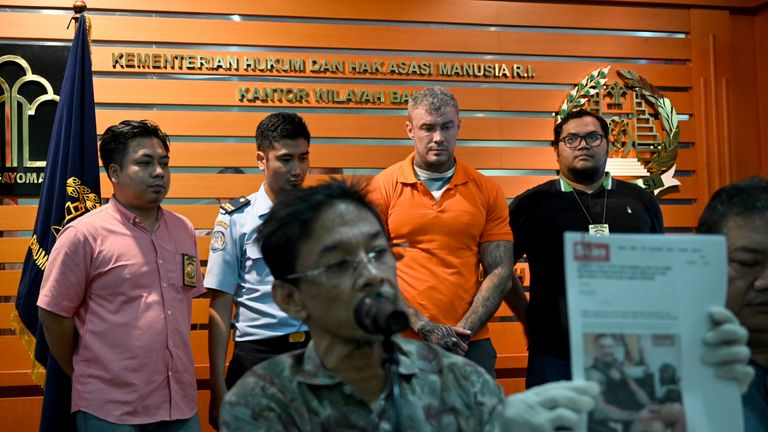 Murrell was paraded in front of a press conference by Indonesian authorities
