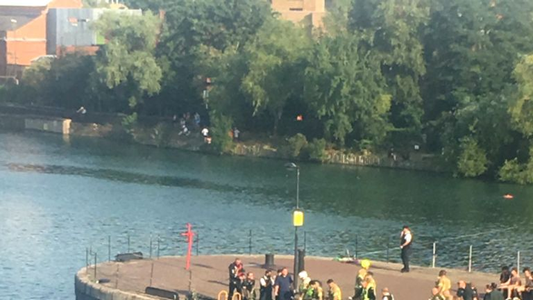 Emergency services at the scene in Wapping. Pic: Emma Reilly