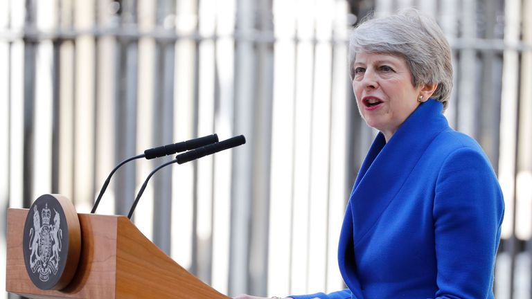 Theresa May gives her final address as prime minister outside 10 Downing Street