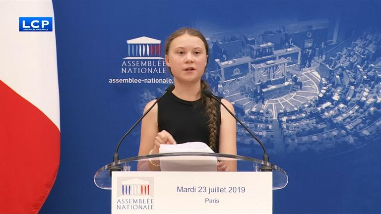 Climate activist Greta Thunberg addresses French parliament