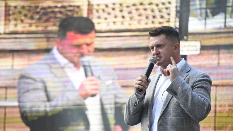 Tommy Robinson addressed supporters whilst stood in front of a truck-mounted screen outside court